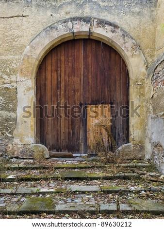 very old wood door - stock photo