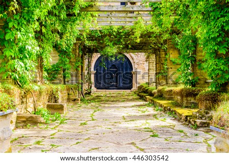 Very old wooden portal or gate into an old building and an overgrown walkway leading up to it. - stock photo