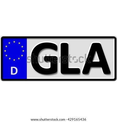very popular and recently approved optional license plate number for Gladbeck (german city-name), 3D-Illustration - stock photo
