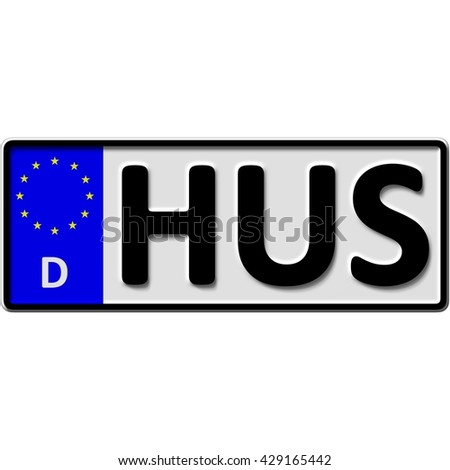 very popular and recently approved optional license plate number for Husum (german city-name), 3D-Illustration - stock photo