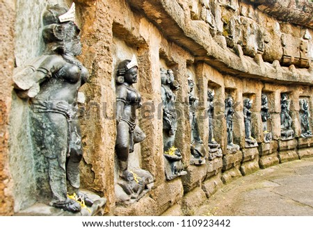 Very Rare statues of the Yoginis at the 9th century hypaethral Chausathi yogini (sixty-four yogini) Temple at Hirapur, Orissa, India - stock photo