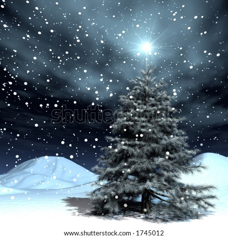 very realistic Christmas-tree in a snowing night - stock photo