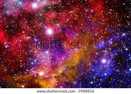 Very realistic stellar field with nebulae - stock photo
