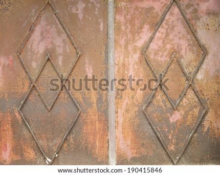 very rusty old metal door - stock photo
