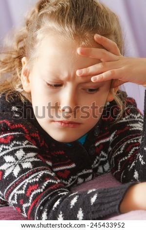 Very serious, emotional, thinking child - stock photo