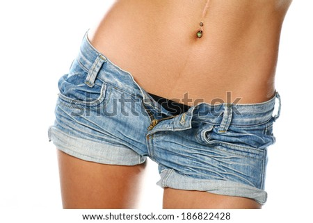 Very Sexy Belly Women Weared Jeans Stock Photo 186822428 ...