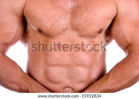 Very sexy muscular torso isolated on white - stock photo