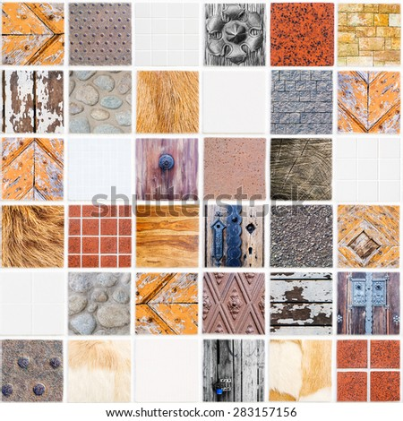 very special white ceramic tile with 36 squares in square form made of different themes, colors and materials