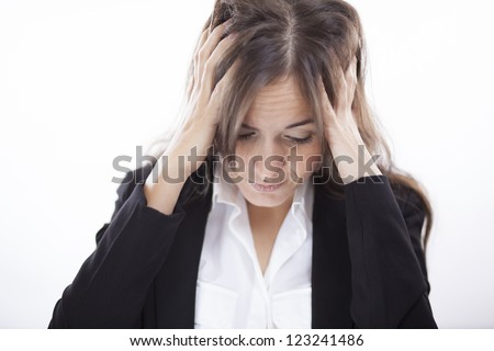 Very stressed latin business woman - stock photo