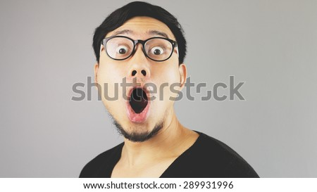 Very surprised funny face. - stock photo