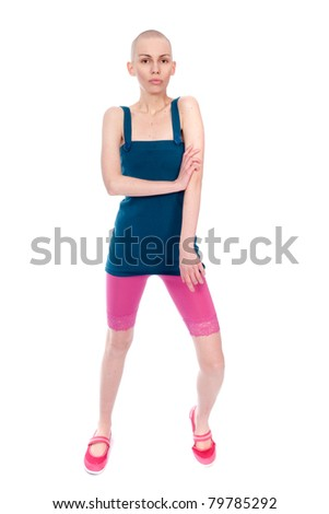 Very thin young woman in summer clothes