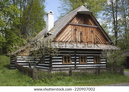 Vesely Kopec, Czech Republic-May 7,2014: Skanzen Vesely Kopec, folk architecture, typical Czech rural building in the highlands, water mill, - stock photo