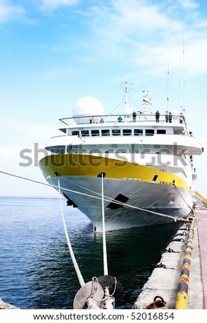 vessel anchored in port - stock photo