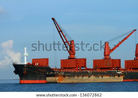 Vessel cargo with crane in the gulf