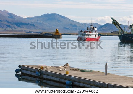 vessel for whale watching in Iceland in the port of reykjavik - stock photo