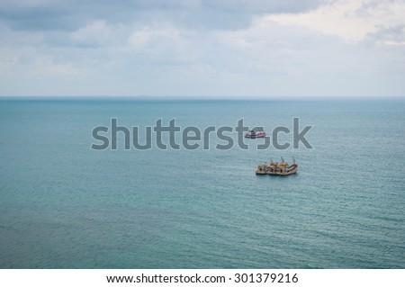 Vessel in the Deep Blue Sea - stock photo