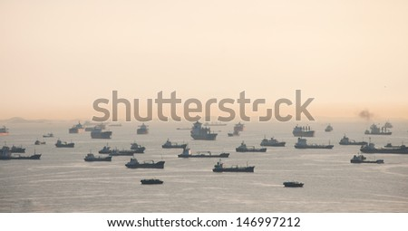 Vessels on road. Singapore strait. - stock photo