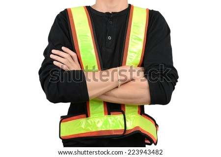 vest in man, isolated on black - stock photo