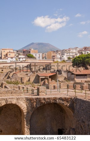 Vesuvius sits silently watching over the ruins of Herculaneum