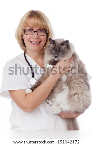 Vet holds a cat during vet clinic visit over white background.  - stock photo