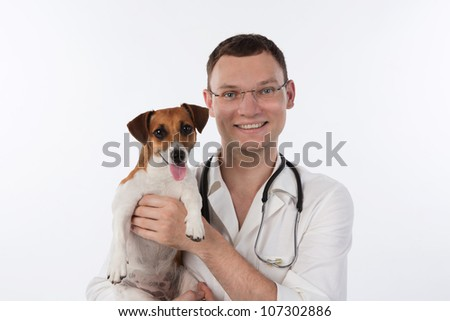 Vet with dog. Veterinary man is holding dog Jack Russell terrier on white background. Studio shot. Veterinarian.