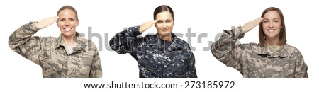 VETERAN FEMALE SOLDIERS | WOMEN IN COMBAT | WOMEN PROUDLY SERVING THEIR COUNTRY | Veteran soldiers in Air Force, Navy and Army Saluting in front of white background | Female veterans  - stock photo