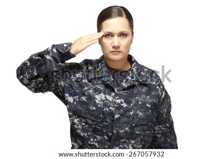 Veteran soldier female navy officer saluting against white background - stock photo