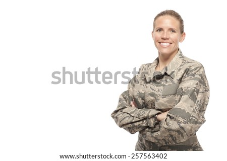 Veteran Soldier | happy female airman against white background - stock photo