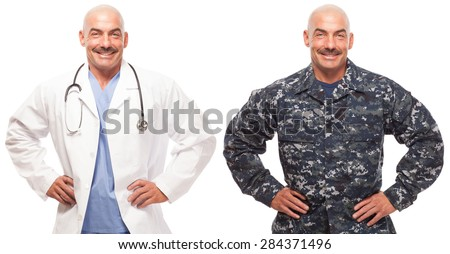VETERAN SOLDIER   MILITARY TRANSITION TO CIVILIAN WORKPLACE   Doctor wearing his lab coat and his navy uniform showing the transition. - stock photo