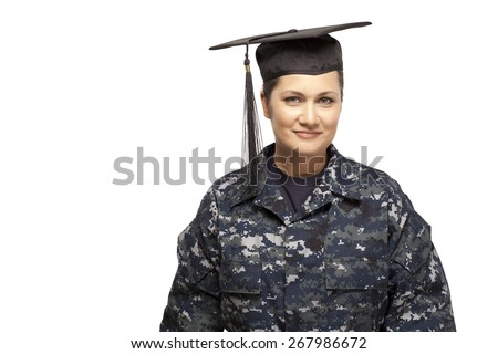 Veteran soldier   navy female sailor wearing graduation cap against white background - stock photo