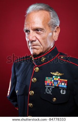 Veteran Soldier | Retired Marine in Uniform - stock photo