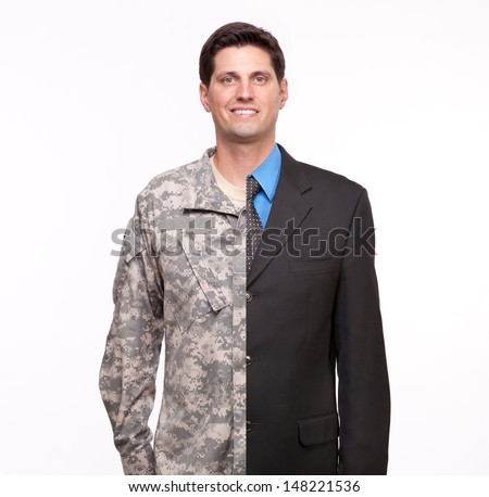 Veteran Soldier | Young man with split careers - stock photo