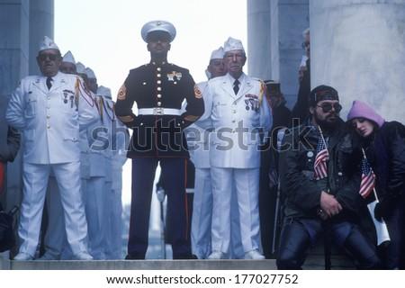 Veterans at Veteran's Day Ceremony, Arlington National Cemetery, Washington, D.C. - stock photo