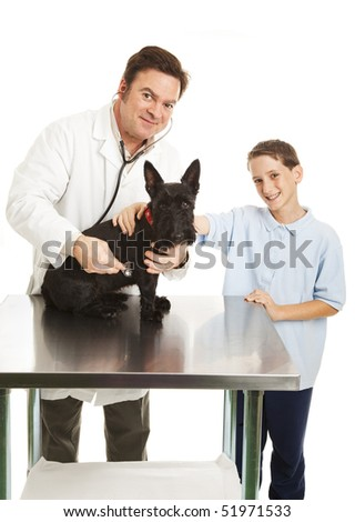Veterinarian listens to dog's heart beat while young owner looks on.  White background.