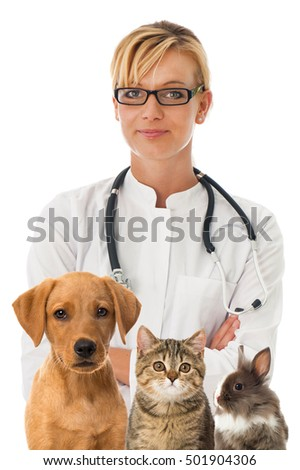 Veterinarian with pets