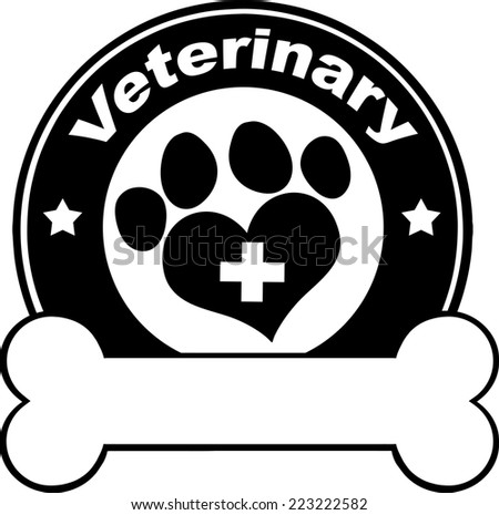 Veterinary Black Circle Label Design With Love Paw Print,Cross And Bone Under Text. Raster Illustration Isolated on white - stock photo