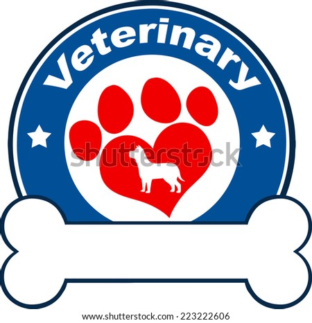 Veterinary Blue Circle Label Design With Love Paw Dog And Bone Under Text. Raster Illustration Isolated on white - stock photo