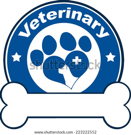 Veterinary Blue Circle Label With Love Paw Dog, Cross And Bone Under Text. Raster Illustration Isolated on white - stock photo