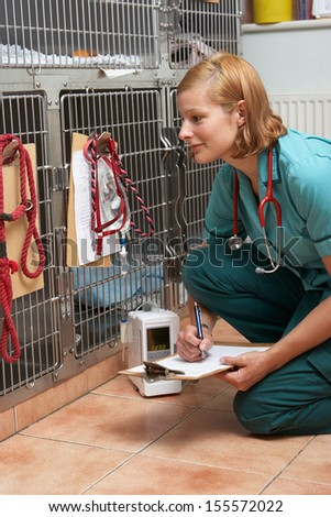 Veterinary Nurse Checking On Animals In Cages - stock photo