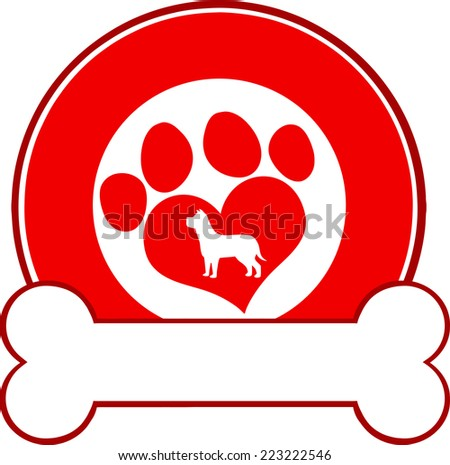 Veterinary Red Circle Label Design With Love Paw Dog And Bone. Raster Illustration Isolated on white - stock photo