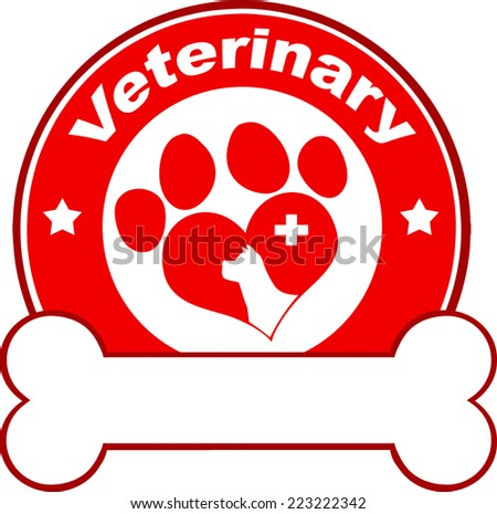 Veterinary Red Circle Label Design With Love Paw Dog, Cross And Bone Under Text. Raster Illustration Isolated on white - stock photo