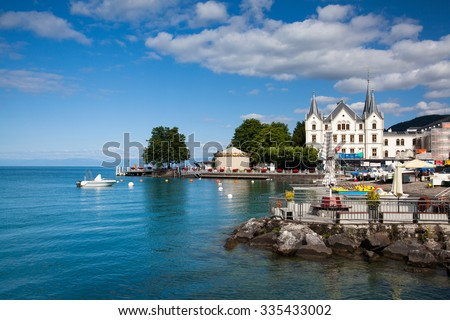 Vevey, Switzerland - July 8, 2015: Port in Vevey at Geneva lake in Switzerland. - stock photo