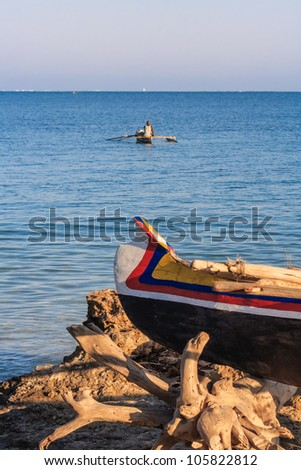 Vezo fisherman in the lagoon of Ifaty, southwestern Madagascar - stock photo