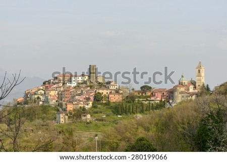 Vezzano Ligure Inferior, cityscape from west, view of the lower part of historical village on  hill top  in Liguria inland, Vezzano Ligure, Italy  - stock photo