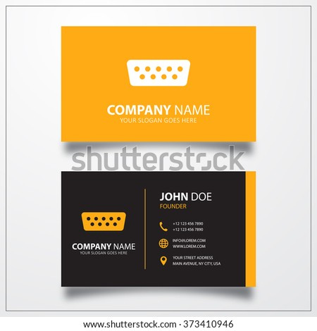 VGA connector cable icon. Business card template. - stock photo