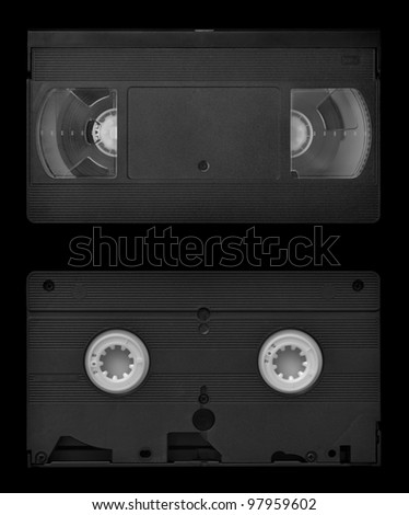 VHS video cassette both sides, isolated on black, clipping path included - stock photo