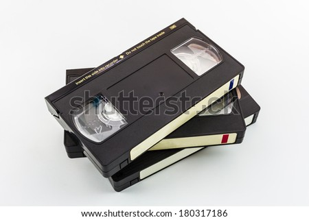 VHS video cassette isolated on white background.  - stock photo