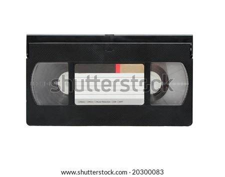 VHS video cassette isolated on white background - stock photo