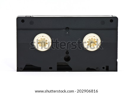 VHS video tape cassette on white background - stock photo