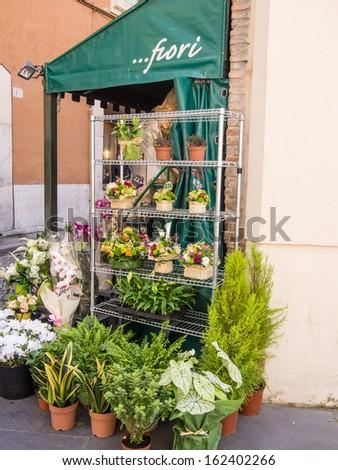 Via dei Greci is a narrow street in the centre of Rome, near Piazza di Spagna, accessible from Via del Babuino in the ancient Campo Marzio neighborhood - stock photo